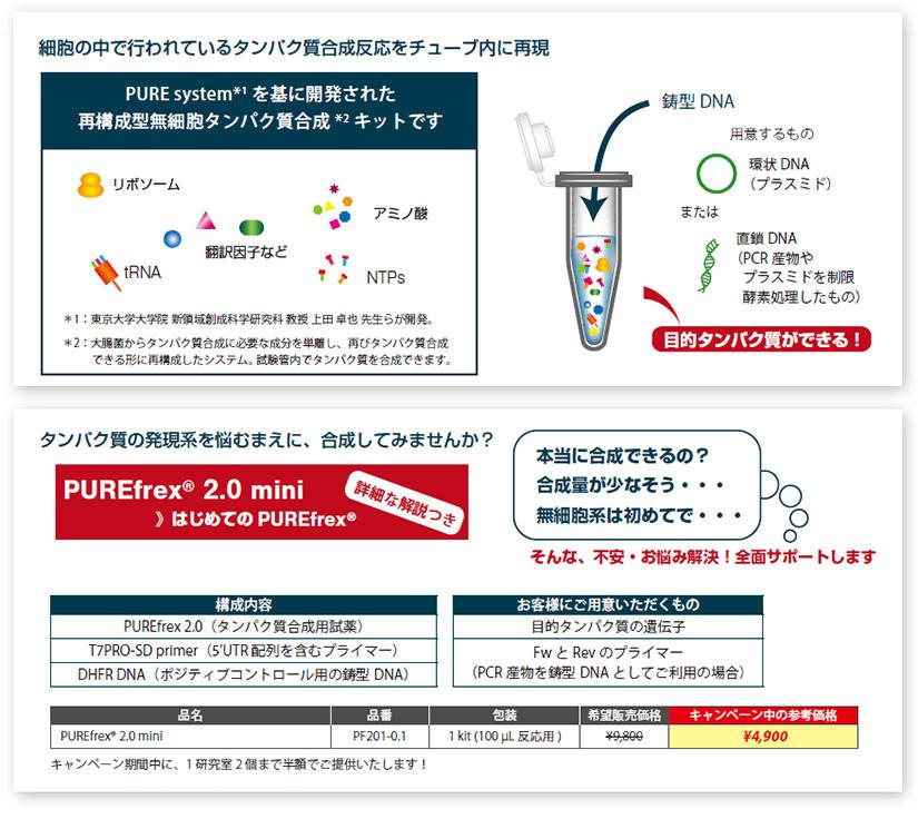 細胞の中で行われているタンパク質合成反応をチューブ内に再現。PURE system*1 を基に開発された 再構成型無細胞タンパク質合成*2 キットです。*1 :東京大学大学院 新領域創成科学研究科 教授 上田 卓也 先生らが開発。 *2 :大腸菌からタンパク質合成に必要な成分を単離し、再びタンパク質合成できる形に再構成したシステム。試験管内でタンパク質を合成できます。タンパク質の発現系を悩むまえに、合成してみませんか?