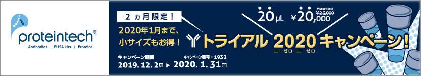 プロテインテック 抗体トライアルサイズ ¥20,000 キャンペーン 2020年1月31日(金)まで