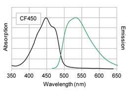 PBS中でのCF450標識ヤギ抗マウス抗体の吸光、蛍光スペクトル