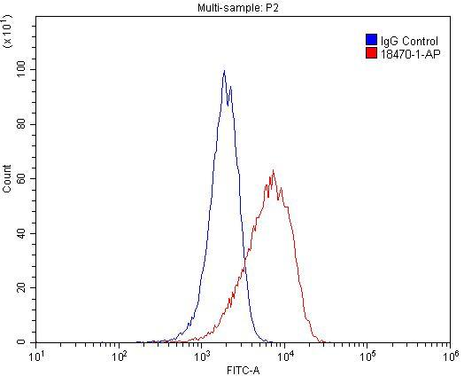 1X10^6 HeLa cells were stained with 0.2ug CD133 antibody (18470-1-AP, red) and control antibody (blue). Fixed with 4% PFA blocked with 3% BSA (30 min). Alexa Fluor 488-congugated AffiniPure Goat Anti-Rabbit IgG(H+L) with dilution 1:1500.