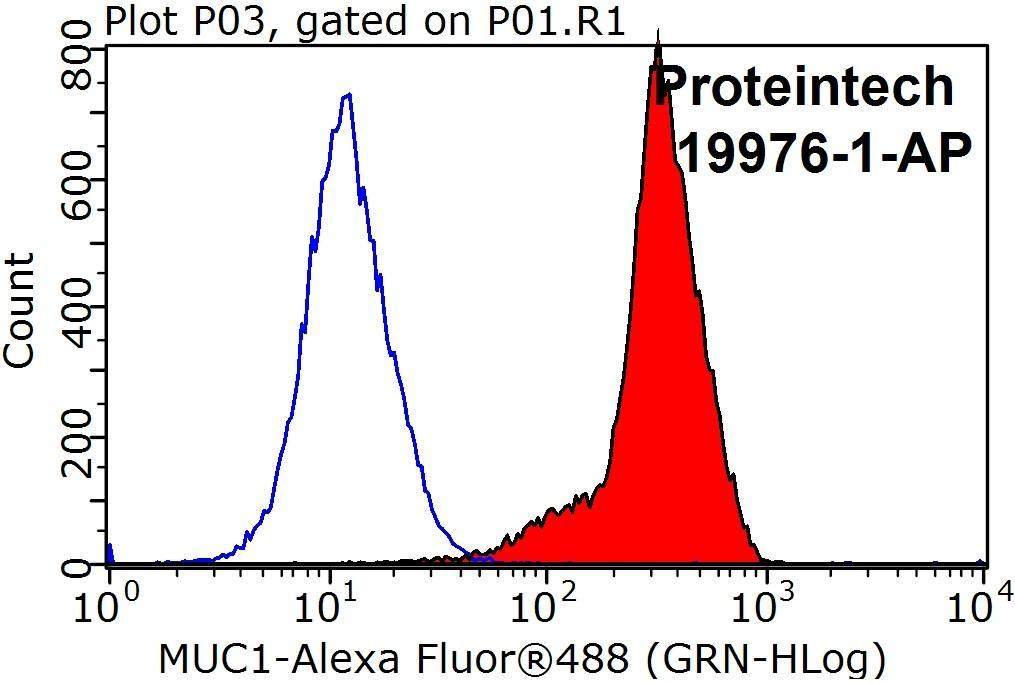 1X10^6 MCF-7 cells were stained with 0.2ug CA15-3,MUC1 antibody (19976-1-AP, red) and control antibody (blue). Fixed with 90% MeOH blocked with 3% BSA (30 min). Alexa Fluor 488-congugated AffiniPure Goat Anti-Rabbit IgG(H+L) with dilution 1:1000.