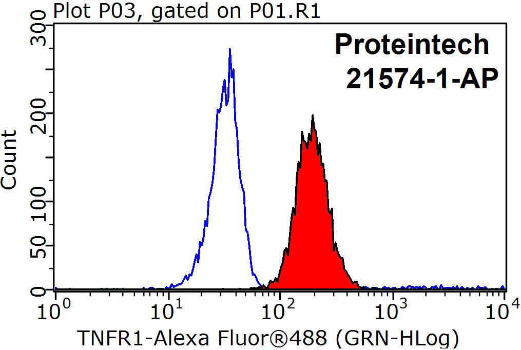 1X10^6 Raji cells were stained with 0.2ug TNFR1 antibody (21574-1-AP, red) and control antibody (blue). Fixed with 90% MeOH blocked with 3% BSA (30 min). Alexa Fluor 488-congugated AffiniPure Goat Anti-Rabbit IgG(H+L) with dilution 1:1000.
