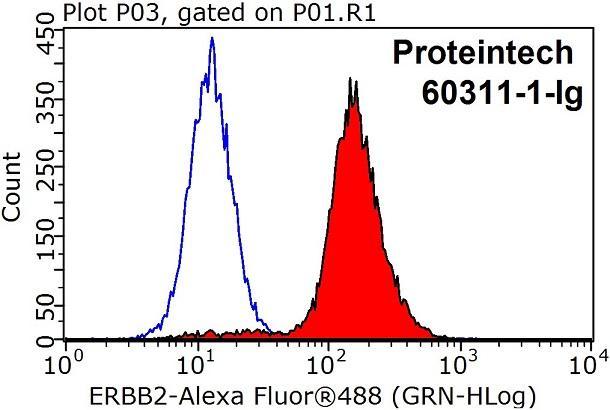 1X10^6 HeLa 細胞を0.2ug のERBB2抗体(赤)およびコントロール抗体(青)で染色した。