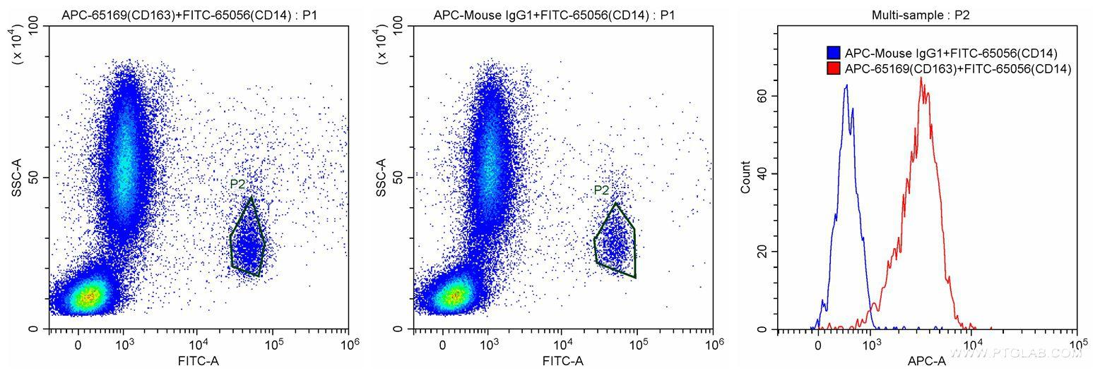 100 ul human peripheral blood were surface stained with 10 ul FITC Anti-Human CD14 (FITC-65056, Clone: UCHM-1), and 10 ul APC Anti-Human CD163 (APC-65169, Clone: GHI/61) or APC Mouse IgG1 isotype control. Samples were then treated with red blood cell lysis buffer and were gated for CD14+ monocytes for analysis of CD163 staining. Samples were not fixed.