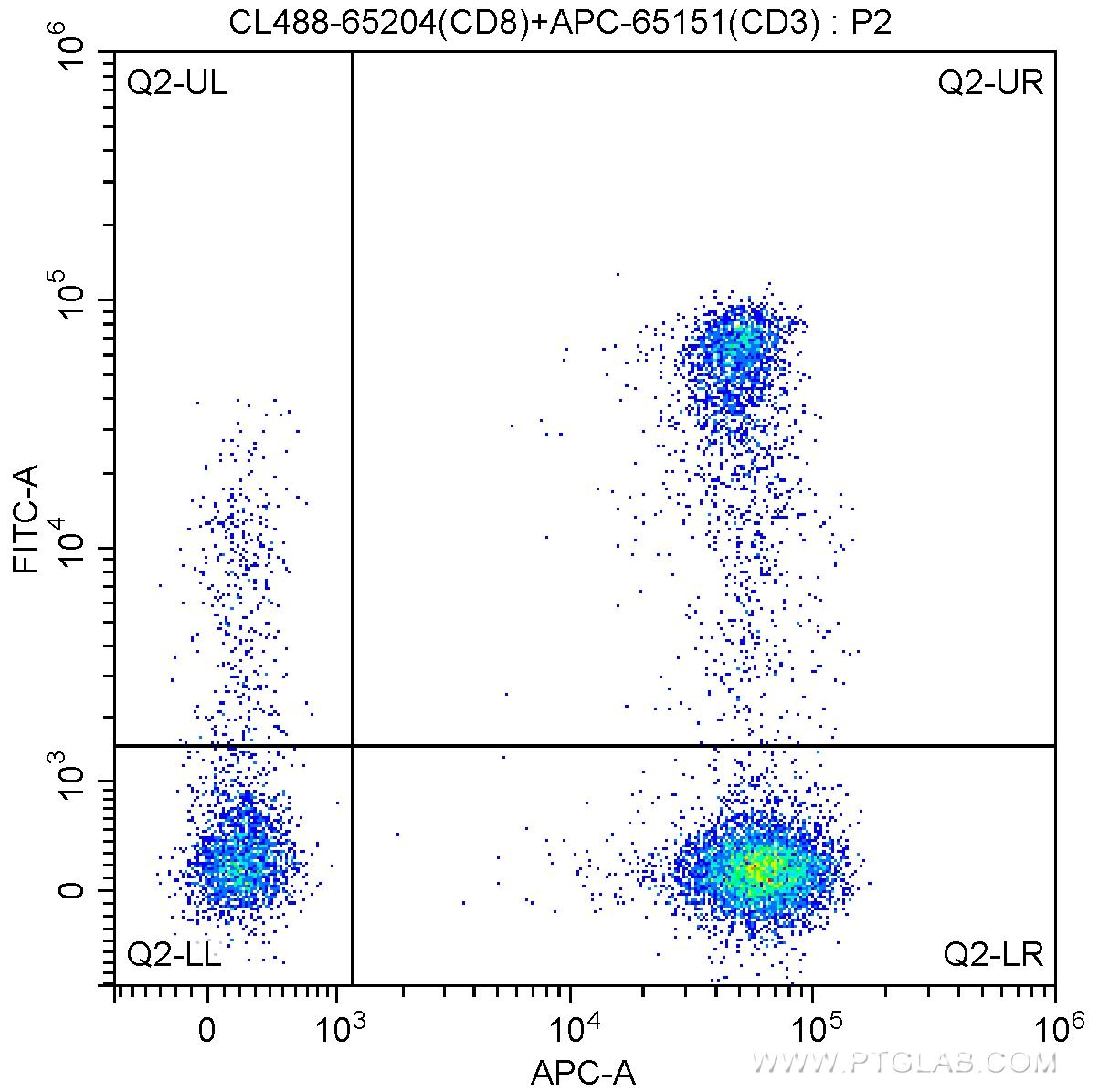 1X10^6 human peripheral blood lymphocytes were surface stained with APC-Anti-Human CD3 (APC-65151, Clone: UCHT1) and 5 ul CoraLite®488-conjugated Anti-Human CD8 (CL488-65204, Clone: UCHT4). Cells were not fixed.