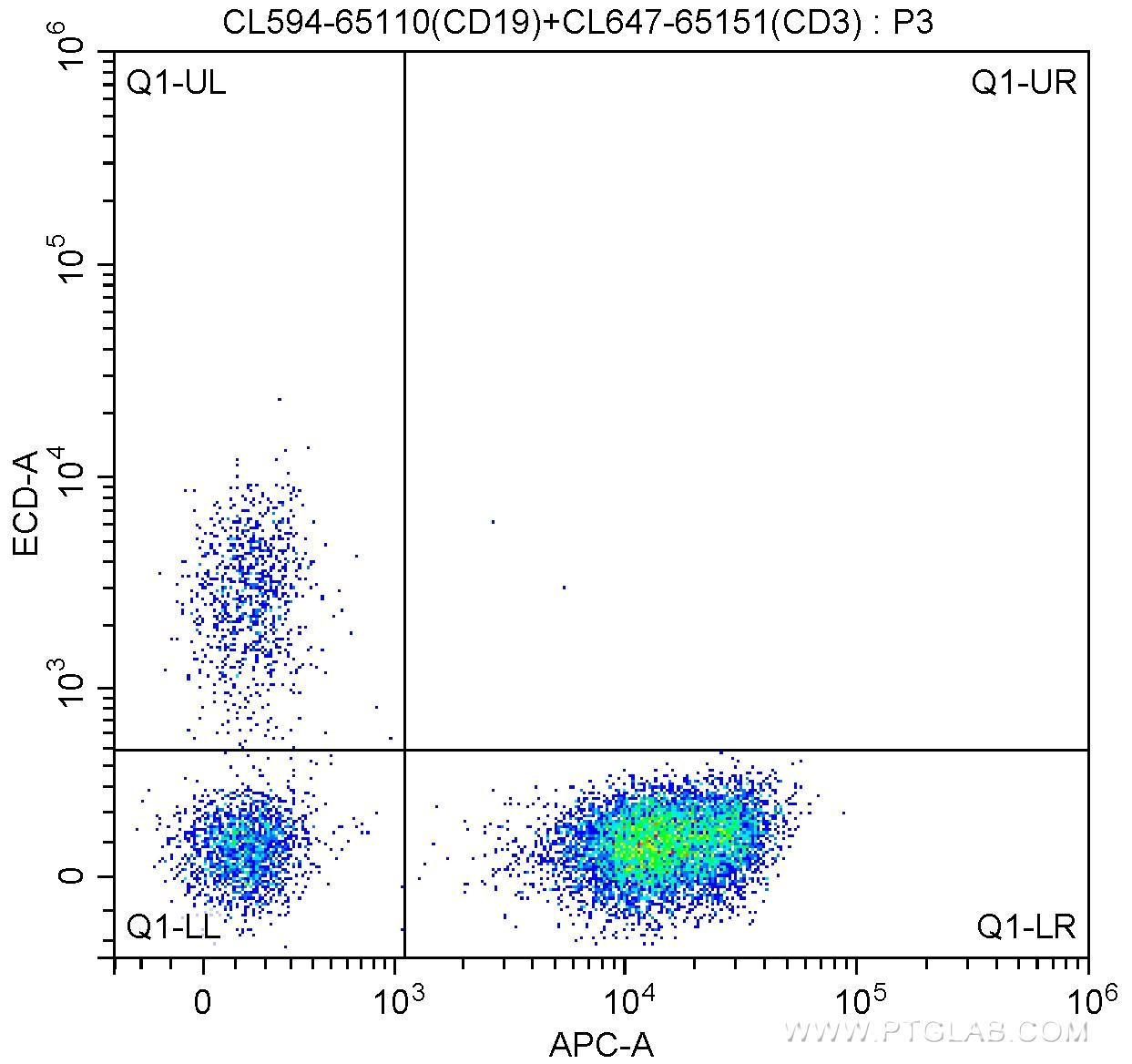1X10^6 human peripheral blood lymphocytes were surface stained with 5 ul CoraLite®647-conjugated Anti-Human CD3 (CL647-65151, Clone: UCHT1) and 5 ul CoraLite®594 Anti-Human CD19 (CL594-65110, Clone:HIB19). Cells were not fixed.