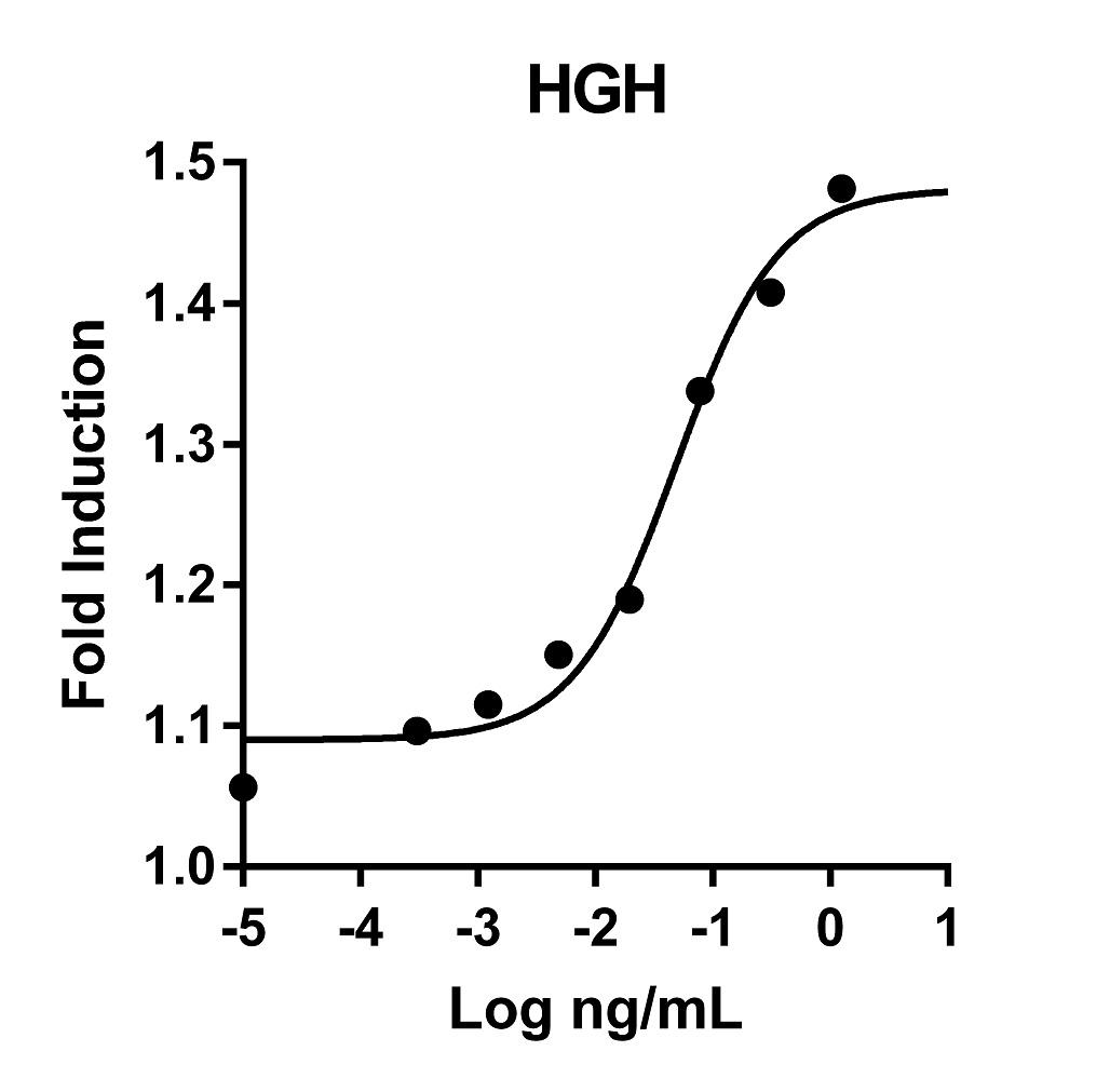 The activity was determined by the dose-dependent stimulation of the proliferation of rat lymphoma line Nb2-11 cells (prolactin indicator cell line) using the Promega CellTiter96® Aqueous Non-Radioactive Cell Proliferation Assay.