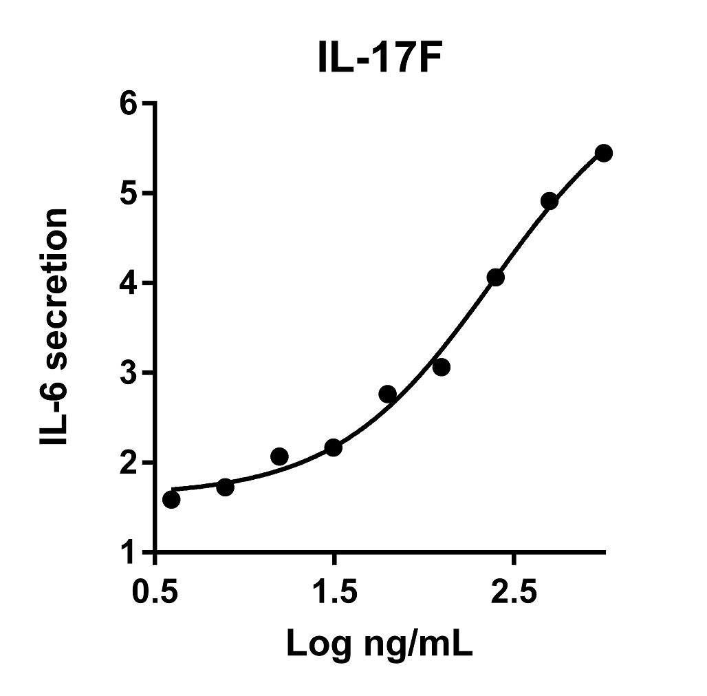 The activity was determined by the dose- dependent induction of IL-6 secretion from NHDF Adult fibroblasts using IL6 ELISA kit.