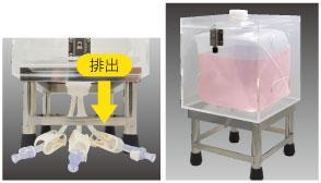 ストッパー付きの専用透明ケースとステンレス架台のセット