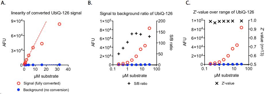 Ub-Rh110MPのバックグラウンドに対する蛍光シグナル