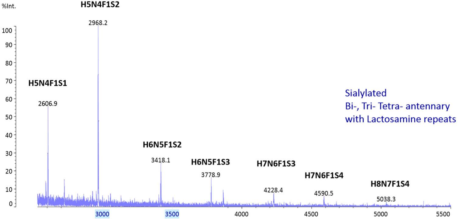 パーメチル化したEPOのN-グリカン鎖のMALDI解析